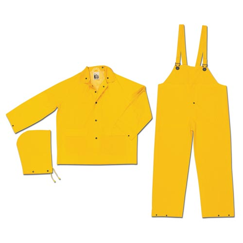 MCR Safety® 2003 3-Piece Snap Front Jacket & Bib Pant Rainsuit (06622)