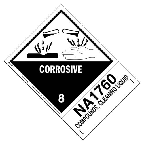 Numbered Panel Proper Shipping Name Labels - Class 8 - Corrosive, NA 1760, Compounds, Cleaning Liquid (00256)