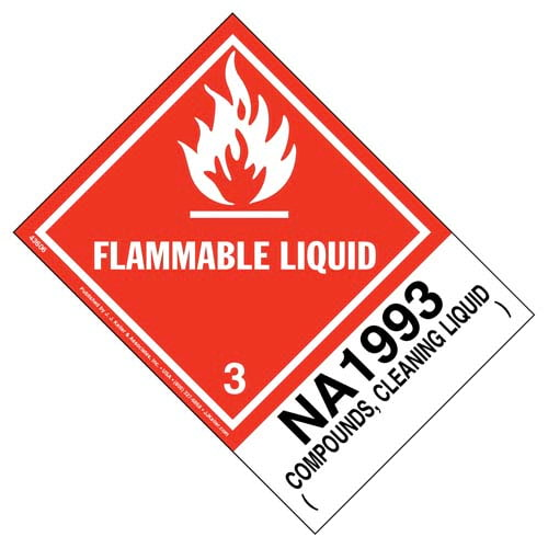 Numbered Panel Proper Shipping Name Labels - Class 3, Compounds - Cleaning Liquid NA 1993 (00108)