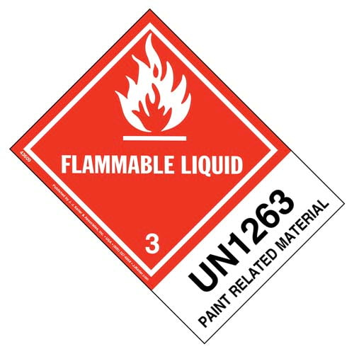 Numbered Panel Proper Shipping Name Labels - Class 3, Flammable Liquid - Paint-Related Material UN 1263 (00107)