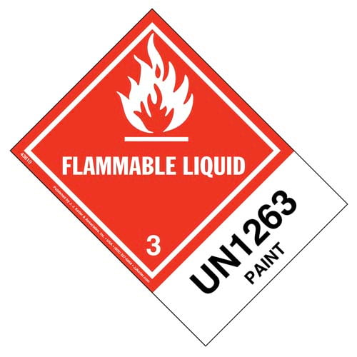 Numbered Panel Proper Shipping Name Labels - Class 3, Flammable Liquid - Paint UN 1263 (00106)