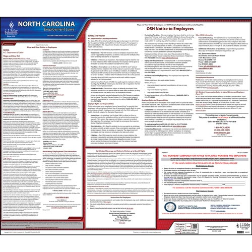 2019 North Carolina & Federal Labor Law Posters (03958)