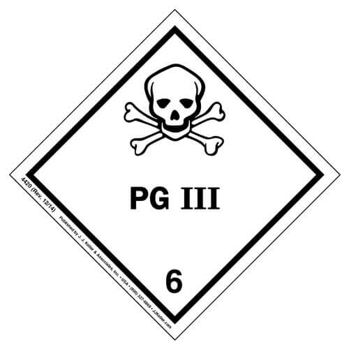 Hazardous Materials Labels - Class 6, Division 6.1 -- Packing Group III -- Paper, Sheet (01438)