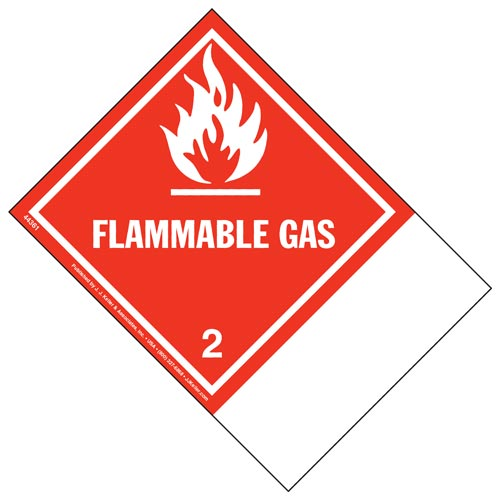 Class 2 Flammable Gas Labels - Blank Shipping Name Panel (00265)