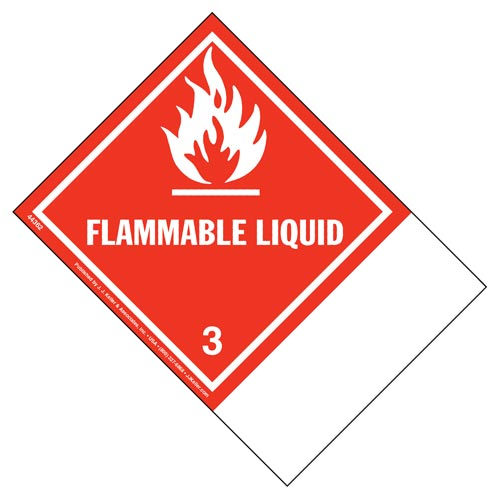 Class 3 Flammable Liquid Labels - Blank Shipping Name Panel (01726)
