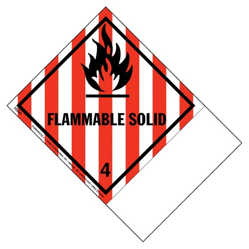 Class 4 Flammable Solid Labels - Blank Shipping Name Panel (02061)