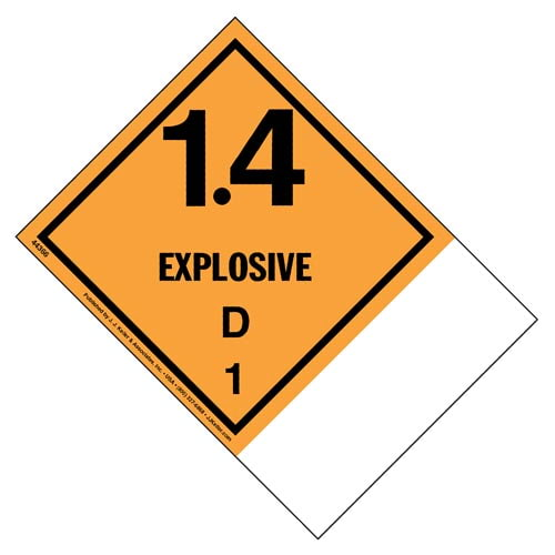 Class 1 Division 1.4D Explosive Labels - Blank Shipping Name Panel (09322)
