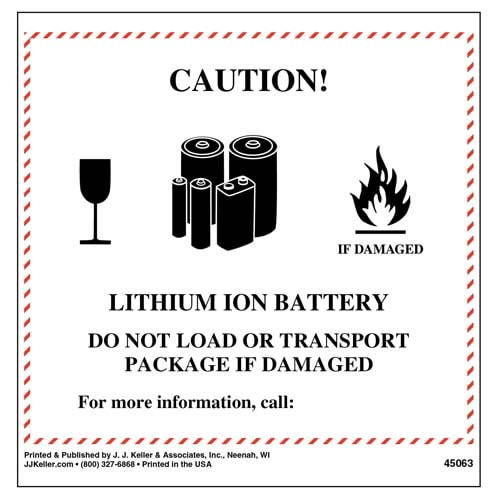 Lithium Ion Battery Label (09455)