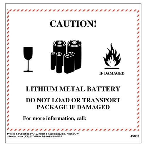 Lithium Metal Battery Label (09456)