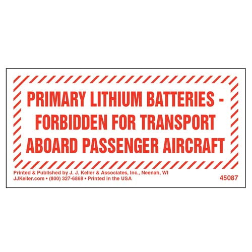 Primary Lithium Batteries Forbidden Marking (09459)