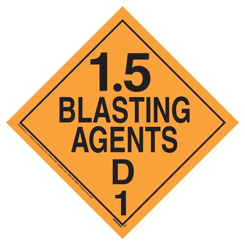 Division 1.5D Explosives Placard - Worded (02270)