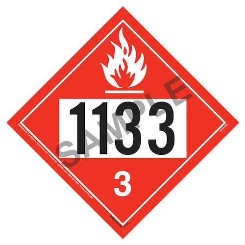 1133 Placard - Class 3 Flammable Liquid (01565)