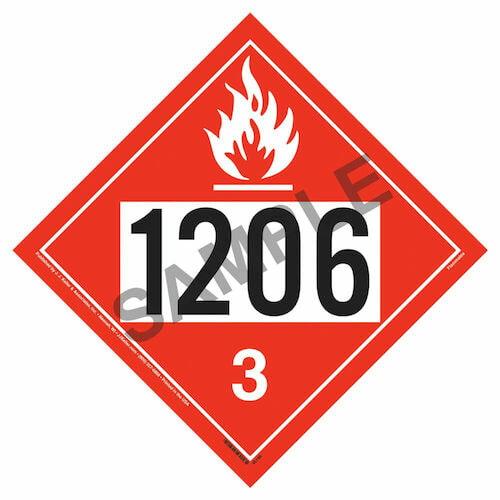 1206 Placard - Class 3 Flammable Liquid (09476)