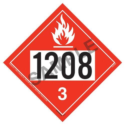 1208 Placard - Class 3 Flammable Liquid (09477)