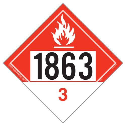 1863 Placard - Class 3 Combustible Liquid (09485)