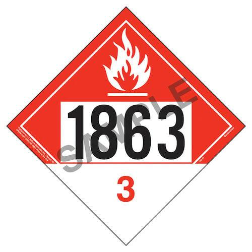 1863 Placard - Class 3 Combustible Liquid (09485)