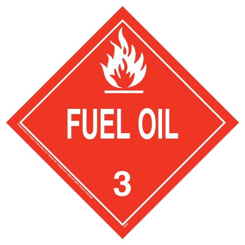 Class 3 Fuel Oil Placard - Worded (09486)