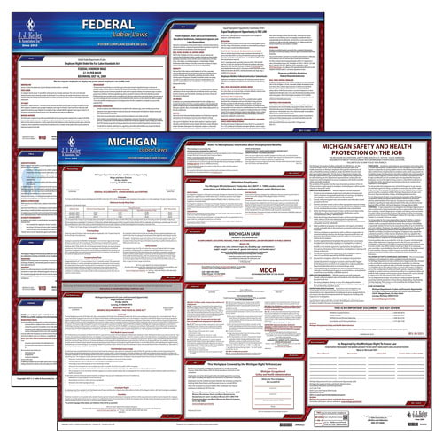 2019 Michigan & Federal Labor Law 2-Poster Set w/ 1-Year Update Service Subscription (014930)