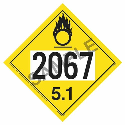 2067 Placard - Division 5.1 Oxidizer (01702)