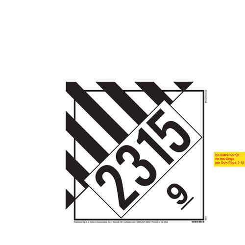 2315 Placard - Class 9 Miscellaneous (02251)