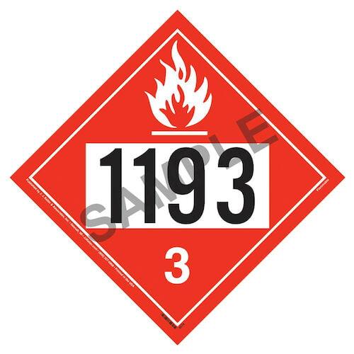 1193 Placard - Class 3 Flammable Liquid (01707)