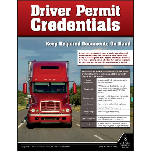 Driver Permit Credentials Motor Carrier Safety Poster