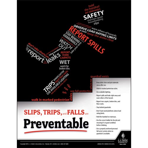 Slips, Trips, and Falls - Workplace Safety Training Poster (09740)