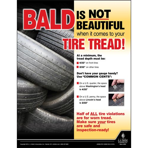 Bald Tire Tread - Motor Carrier Safety Poster (09660)