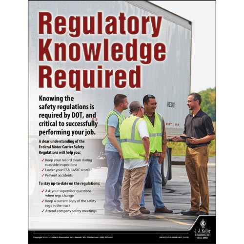 Regulatory Knowledge Required - Transportation Safety Risk Poster (09721)