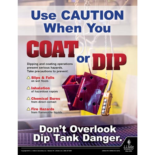 Use Caution When You Coat Or Dip - Workplace Safety Training Poster (09746)