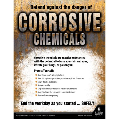 Corrosive Chemicals - Workplace Safety Training Poster (09750)