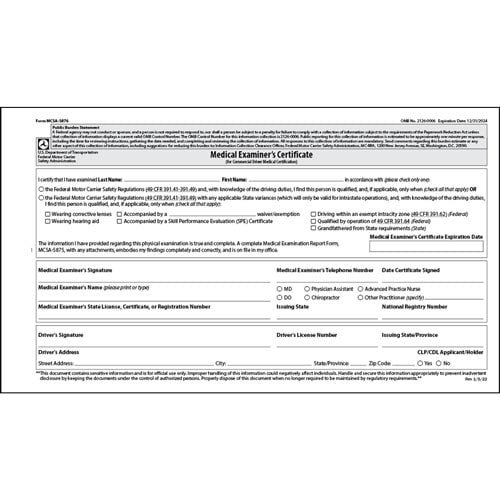 Medical Examination Certificate - Large (011708)