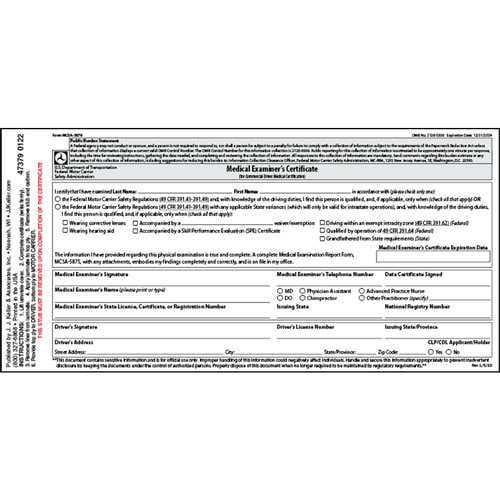 Medical Examination Certificate  Laminated