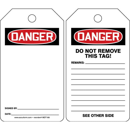 Danger: Blank - OSHA Safety Tag (011586)