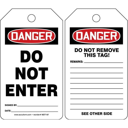 Danger: Do Not Enter - OSHA Safety Tag (011587)