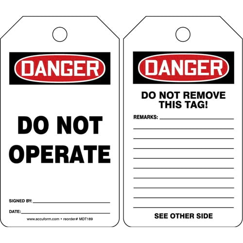 Danger: Do Not Operate - OSHA Safety Tag (011588)