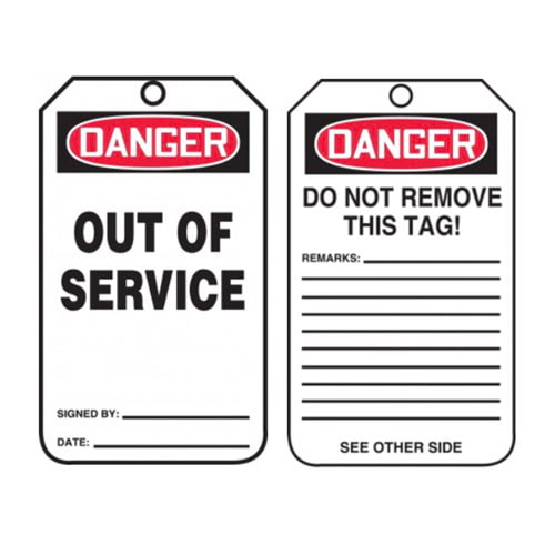 Danger: Out Of Service - OSHA Safety Tag (011589)