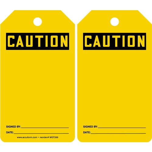 Caution: Blank - OSHA Safety Tag (011591)