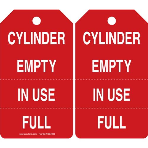 Cylinder Empty, In Use, Full - Safety Tag (011592)