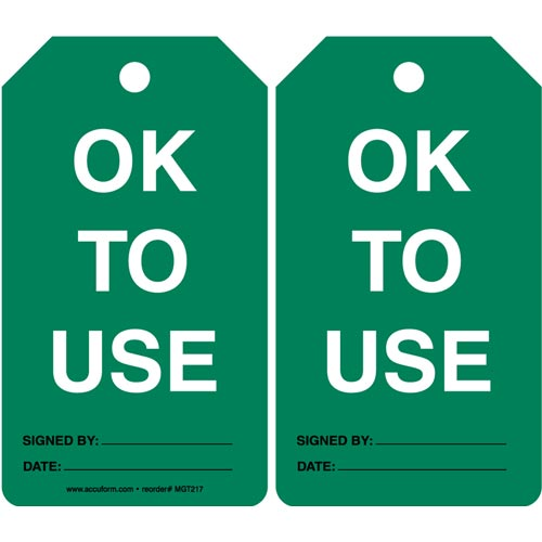 OK To Use - Safety Tag (011595)