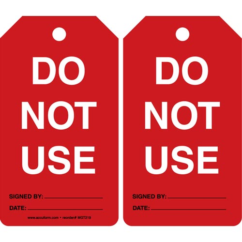 Do Not Use - Safety Tag (011596)