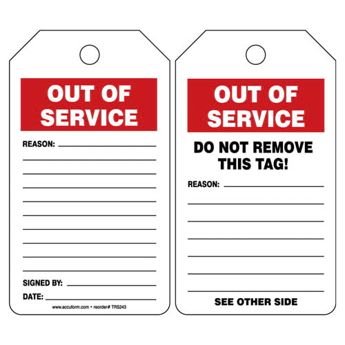 Out Of Service - Safety Tag (011607)