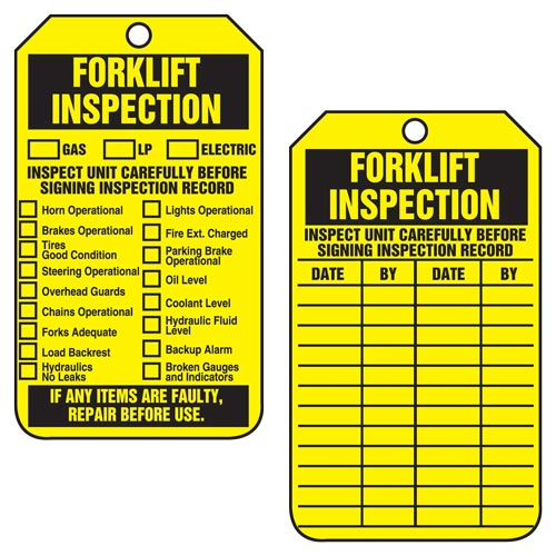 Forklift Inspection - Safety Tag (011609)