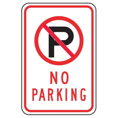 No Parking Sign with Icon (011618)