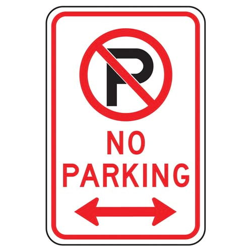 No Parking Sign with Icon & Arrow (011619)