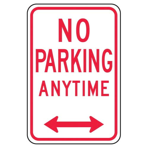 No Parking Anytime Sign with Arrow (011622)