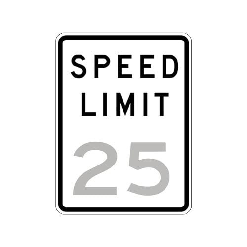 Speed Limit 25 Sign (010188)