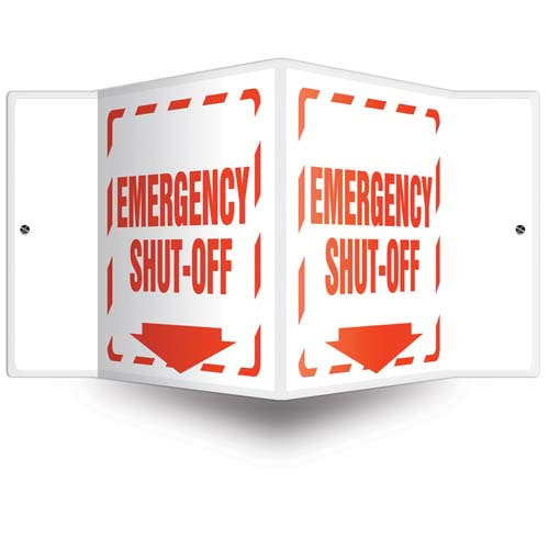 Emergency Shut-Off - 3D Projection Sign (010212)