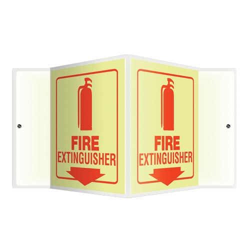 Fire Extinguisher Sign - 3D Projection, Glow In The Dark (010213)