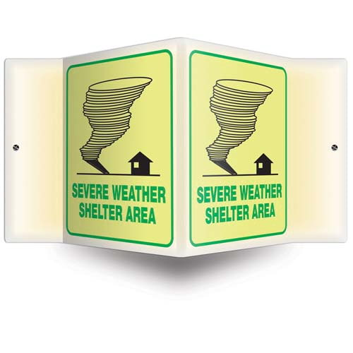 Severe Weather Shelter Sign - 3D Projection, Glow In The Dark (010214)